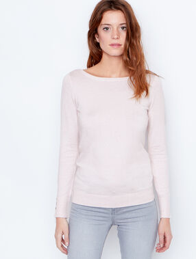 Jersey de punto fino cuello barco rosa palo.