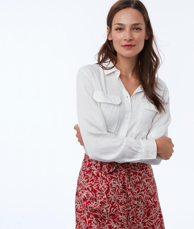 Camisa manga larga dos bolsillos tencel caqui.