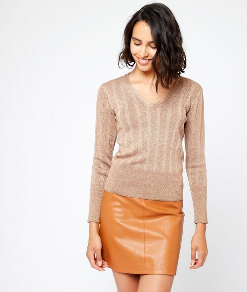 Suéter cuello en V metalizado