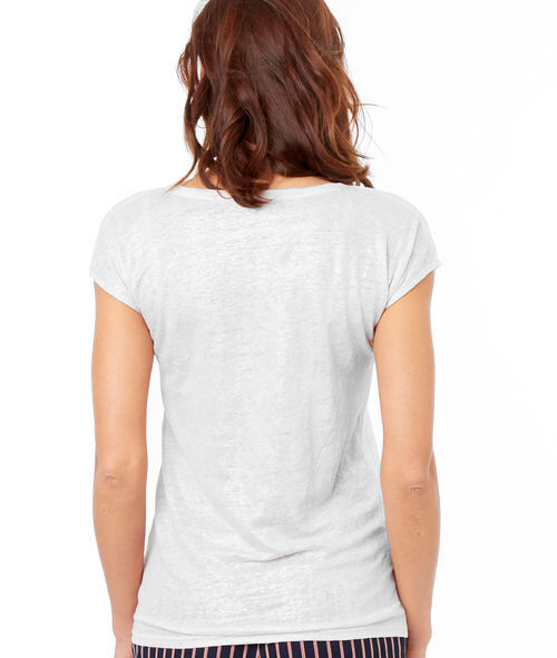 Camiseta lino escote en V