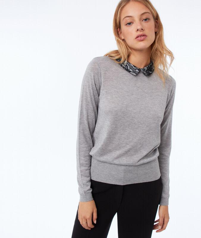 Jersey cuello camisero detalles encaje c.gris.