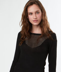 Pull tricot col rond noir.