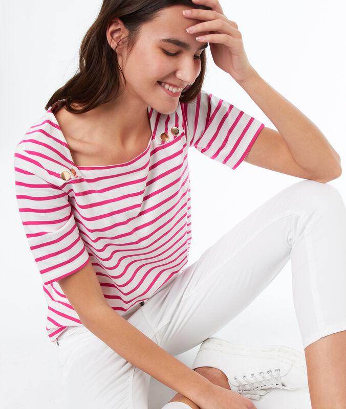 Camiseta estampado de rayas rosa.