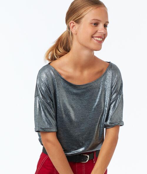 Camiseta cuello barco fibras metalizadas