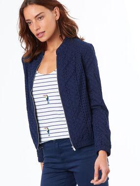 Veste avec zip bleu marine.