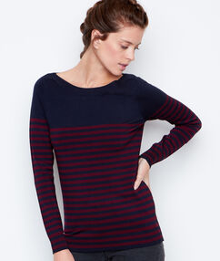 Jersey fino estampado a rayas cuello barco azul marino.