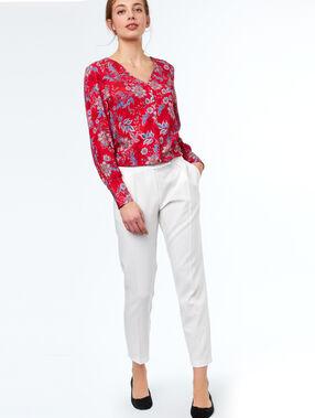 Blusa estampada floral escote v rojo.