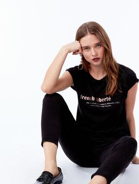 """T-shirt """"french liberté"""" noir."""