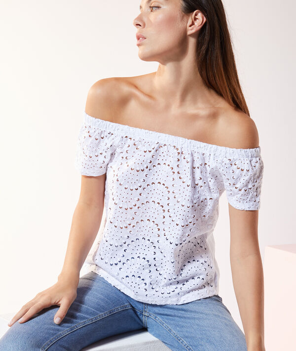 Camiseta guipur hombros al descubierto