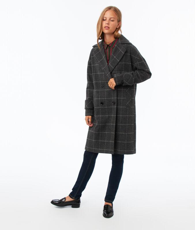 Abrigo largo estampado de cuadros c.gris claro.