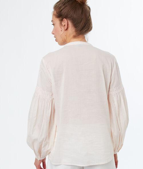Blusa bordados mangas abullonadas