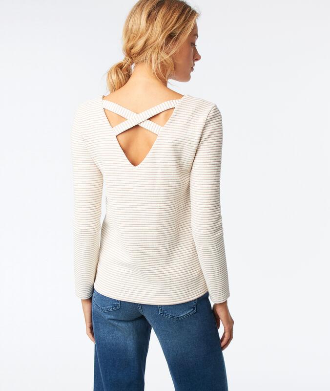 Camiseta manga larga tiras cruzadas espalda crudo.
