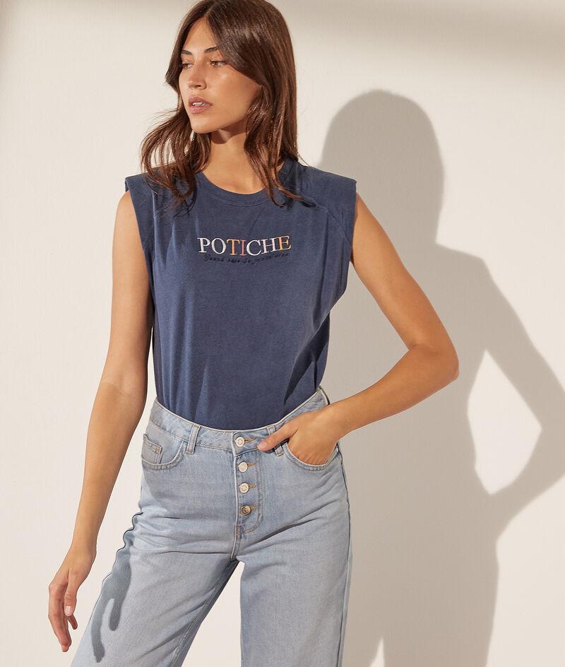 Camiseta con hombreras estampada