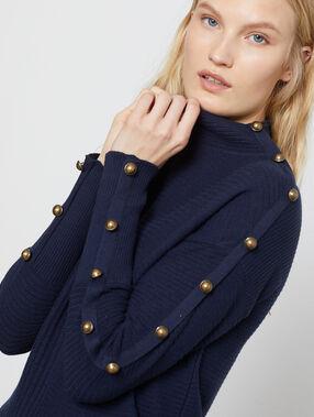 Jersey acanalado de cuello enrollado azul marino.