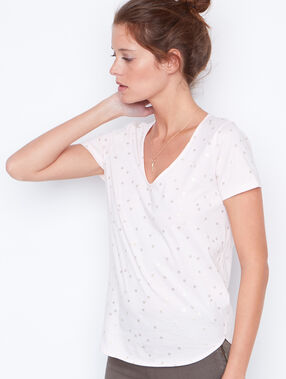 Camiseta manga corta escote en v nude.