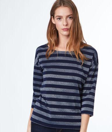 Camiseta manga 3/4 estampado a rayas azul marino.