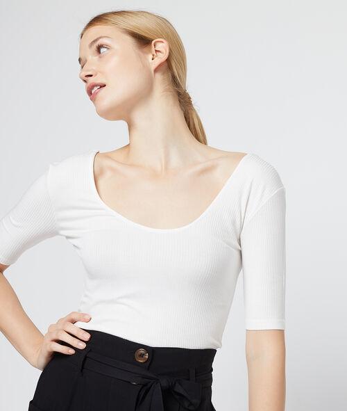 Camiseta acanalada espalda escotada