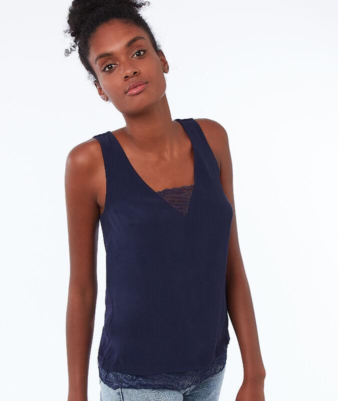 Top algodón con detalles de encaje azul marino.