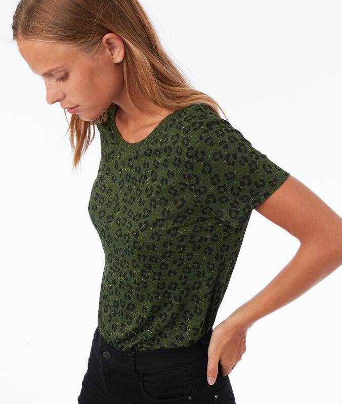 Camiseta estampado leopardo caqui.