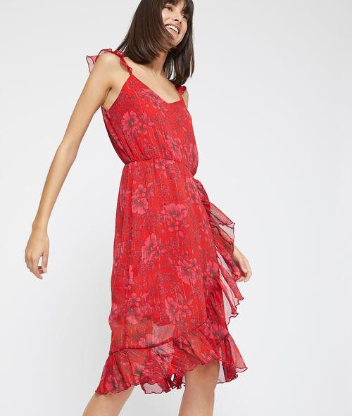 Vestido estampado floral y volantes
