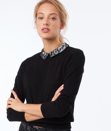 Jersey cuello camisero detalles encaje negro.
