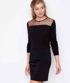 Falda recta negro.