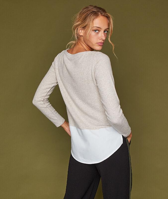Camiseta manga larga dos texturas c.c.beige.