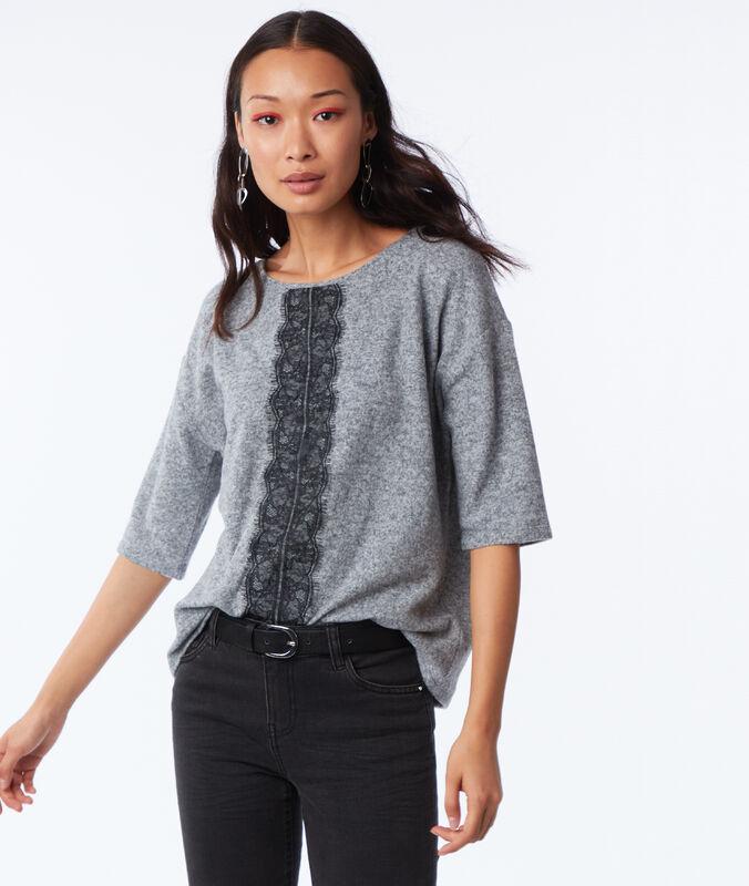Camiseta manga 3/4 motivos de encaje c.gris jaspeado.