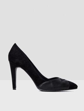 Zapatos tacón dos texturas negro.