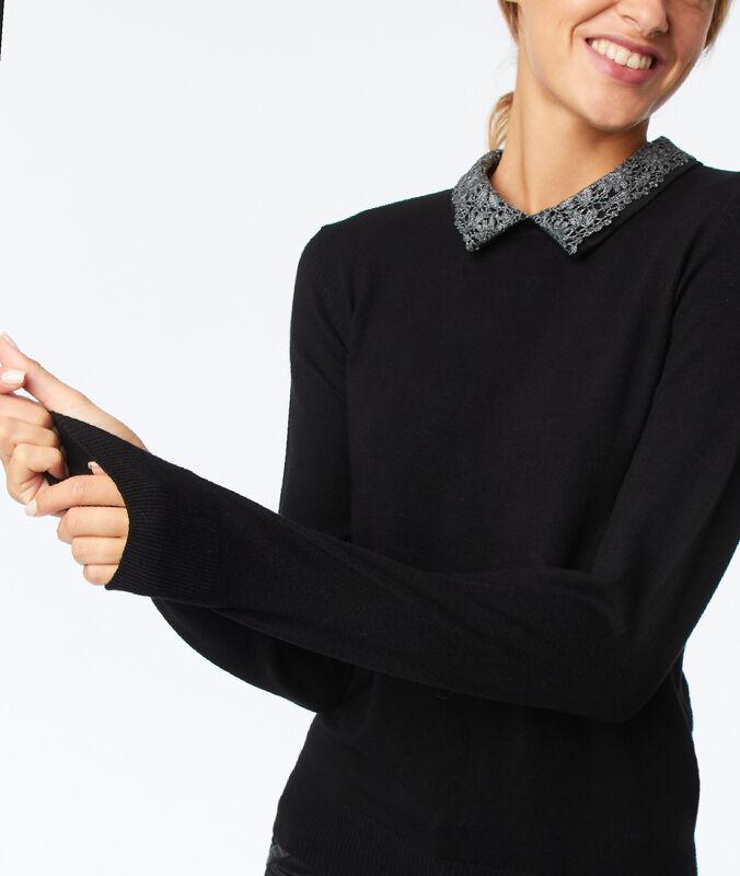 Jersey cuello camisero extraíble negro.