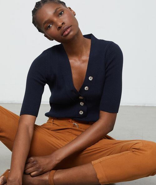 Suéter acanalado manga corta