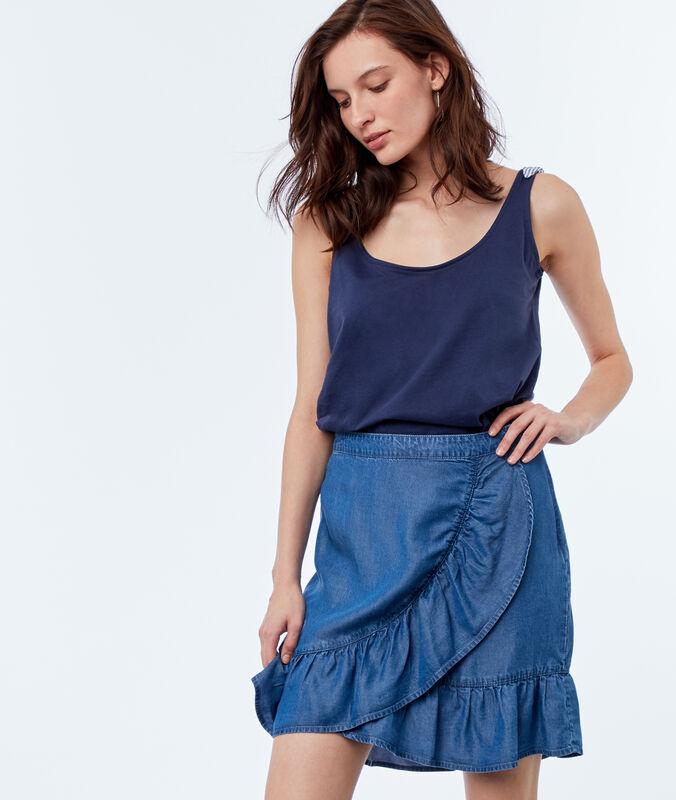 Falda con volantes tencel azul.