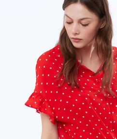 Blusa estampado de lunares rojo.
