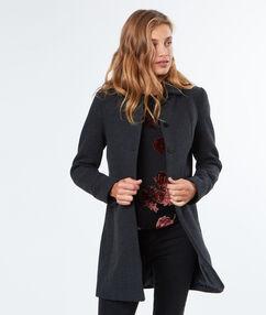 Manteau 3/4 en laine gris anthracite.