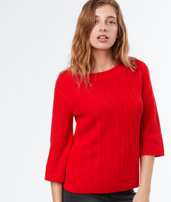 Pull col bateau manches 3/4 rouge.