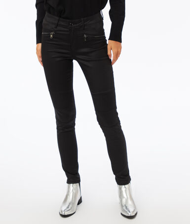 Jean slim effet enduit avec zips noir enduit.