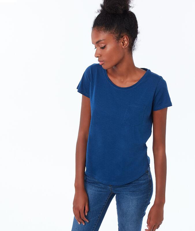 Camiseta cuello redondo algodón azul noche.