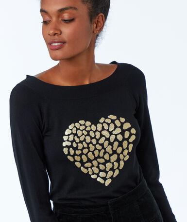 Jersey corazón estampado leopardo negro.