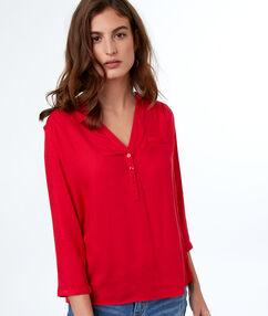 Blusa lisa manga 3/4 rojo.