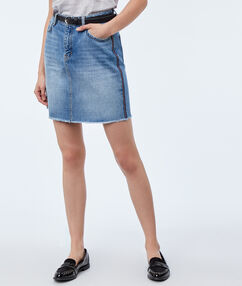 Jupe en jean délavé bleu délavé clair.