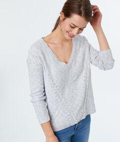 Jersey escote en v algodón azul claro.