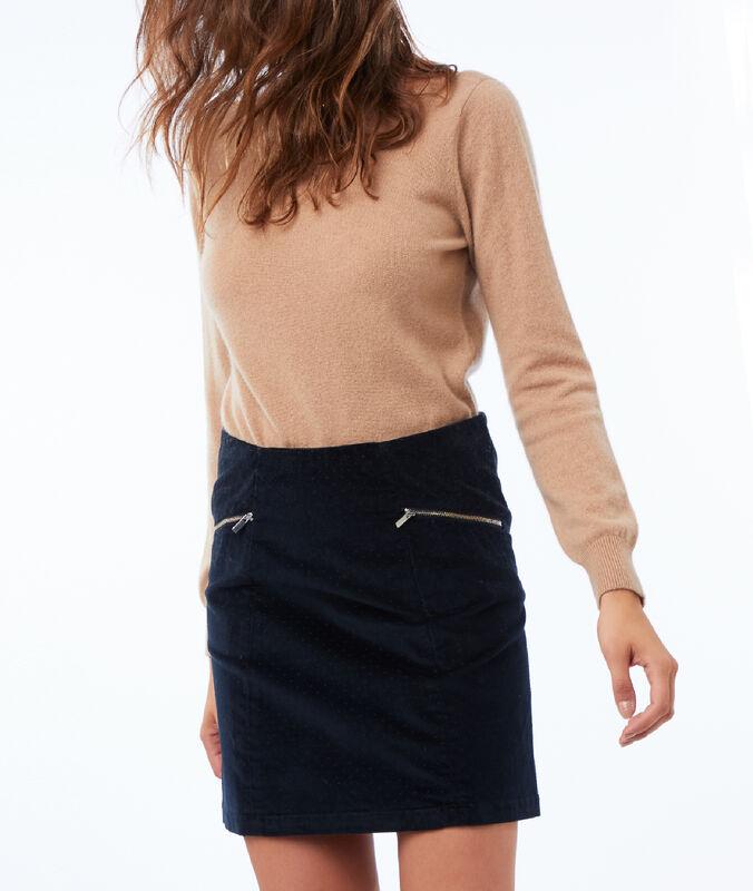 Falda de terciopelo azul marino.