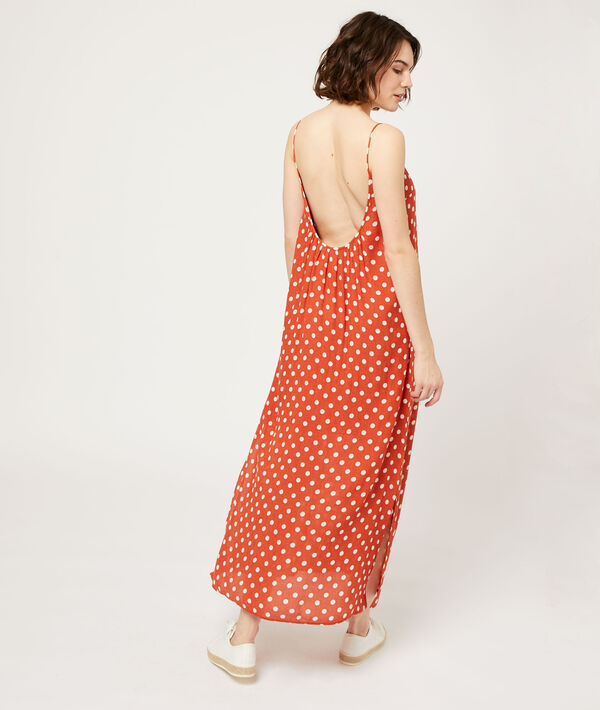 Vestido largo ancho, escote en la espalda