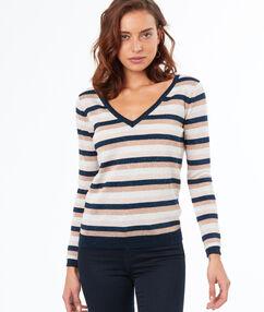 Jersey escote en v estampado de rayas azul marino.