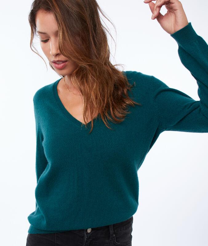 Jersey escote en v 100% cachemir verde.