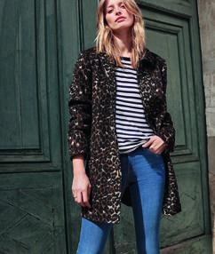 Manteau 3/4 imprimé léopard en laine mélangée noir.