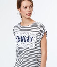 Camiseta estampado de rayas crudo.