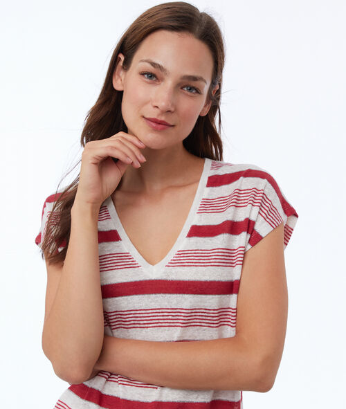 Camiseta manga corta estampado rayas de lino