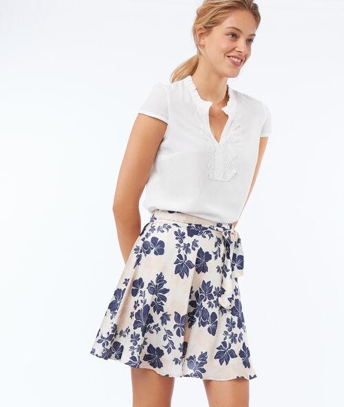 Falda suaves pliegues estampado floral