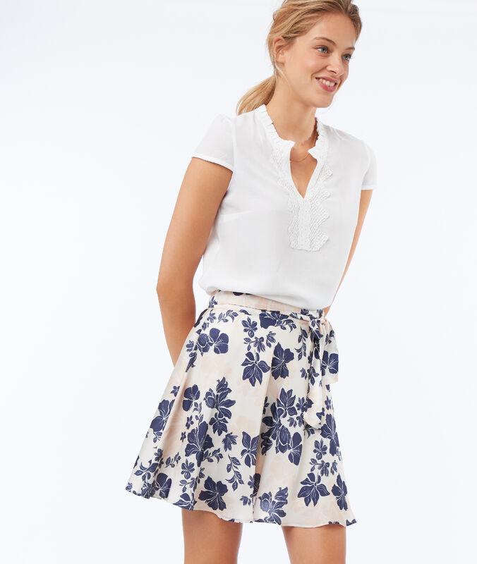 Falda suaves pliegues estampado floral c.nude.